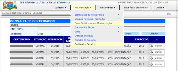 Certificado de Movimentação