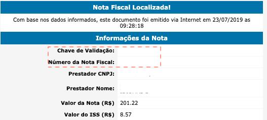 Nota fiscal localizada