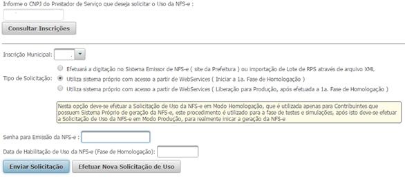 Solicitar Uso NFS-e