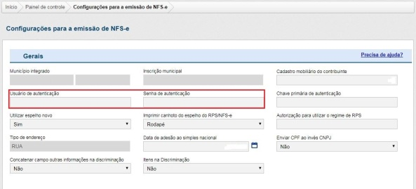 Configurações para Emissão NFS-e